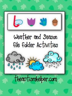 Weather and Season File Folder Activities {12 interactive and visual ways to learn about the weather and seasons} by theautismhelper.com