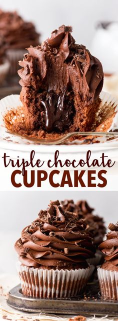 Chocolate Cupcakes (Gluten Free) - These triple chocolate cupcakes are ri., Triple Chocolate Cupcakes (Gluten Free) - These triple chocolate cupcakes are ri., Triple Chocolate Cupcakes (Gluten Free) - These triple chocolate cupcakes are ri. Easy Chocolate Ganache, Chocolate Fudge Cupcakes, Best Chocolate Desserts, Chocolate Frosting Recipes, Best Gluten Free Cupcake Recipe, Chocolate Cupcakes Decoration, Easy Chocolate Cupcake Recipe, Triple Chocolate Muffins, Gluten Free Chocolate Cupcakes