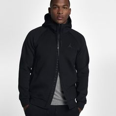 Jordan Sportswear Flight Tech Fleece Men's Full-Zip Hoodie, by Nike Size Medium (Black)
