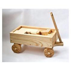 Wagon with Blocks - Handmade Wood Toy Wagon Wooden Toy Trucks, Wooden Toy Boxes, Wooden Wagon, Wooden Wheel, Handmade Wooden Toys, Wooden Baby Toys, Wood Toys, Wooden Diy, Toy Wagon