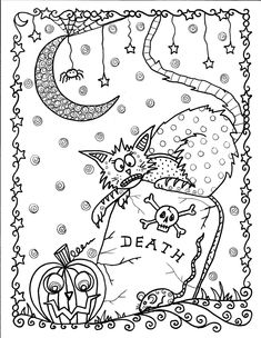 Halloween Coloring Pages For Kids. Halloween is known as a celebration while people use costumes that are unique or creepy. Today, Halloween is known as a costu Adult Coloring Pages, Cat Coloring Page, Colouring Pages, Printable Coloring Pages, Coloring Pages For Kids, Coloring Books, Kids Coloring, Mandala Coloring, Free Coloring