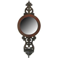 Brown & Red Circle Wood & Mirror Wall Candle Holder | Shop Hobby Lobby