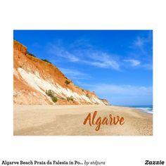 Shop Algarve Beach Praia da Falesia in Portugal Postcard created by stdjura. Algarve, Postcard Size, Cliff, Monument Valley, Postcards, Portugal, Vacation, Rock, Beach