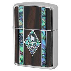 Armor Zippo Lighter Natural Wood & Natural Shell Inlay 162WS-BK