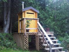 Westpeak Wood of British Columbia designs and sells 5×6 solar composting outhouses.