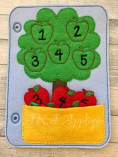 ITH Quiet Book Apple Tree Page Felt Embroidery Design | AKA Applique
