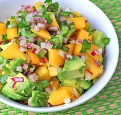 Mango Avocado Salsa - Another way to make it: sub jalapeno for onion.    Chop an avocado and toss it with 1 cup fresh mango, 1 tablespoon lime juice, chopped fresh cilantro, and 1 teaspoon minced jalapeño.