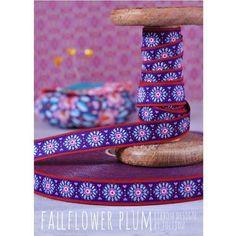 3m Rolle Webband Design by Jolijou, 15mm breit, FallFlower Plum *NEU*