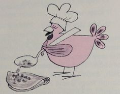 Chicken with a chef hat and spoon vintage cookbook illustration