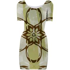 Green and Brown Print Dress