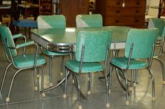 I NEED THIS!!! Chrome Vintage 1950's Formica Kitchen Table and Chairs Teal Mint Green WOW  $700