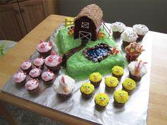 Farm Cake with Barn and Animals: 19 fun first birthday cake ideas.