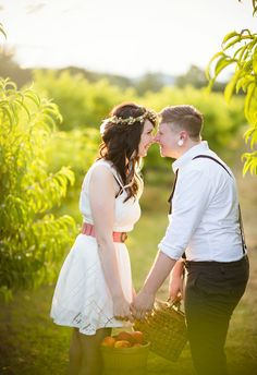Yes to a playful peach-picking date for your engagement session // Lindsey Rose Photography