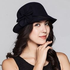 Flower cloche hat for women elegance crimping trilby autumn winter hat