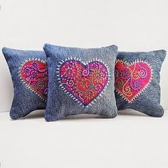 Trio of Embroidered Heart Pillows. I started with recycled denim which I harvested from old pants and washed yielding the most wonderful fabric for embroidery! WindyRiver: Trio of Embroidered Pillows Inspired by Tattoo Art (on denim) another use for old j Jean Crafts, Denim Crafts, Do It Yourself Jeans, Sewing Crafts, Sewing Projects, Quilted Pillow, Embroidered Pillows, Denim Ideas, Heart Pillow