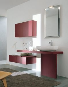Girly Pink Wall Bathroom Cabinet With Bathroom Mirror White Washbowl And Grey Area Rug