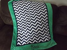 Baby blanket Kelly Green and navy chevron minky dot by abusymother on Etsy https://www.etsy.com/listing/167578409/baby-blanket-kelly-green-and-navy