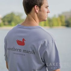 Southern Marsh's most popular shirt, featuring the Southern Marsh mallard silhouette logo on the back, and the Authentic logo on the front pocket. Simply Southern Shirts, Marley Lilly, Southern Marsh, Lounge Pants, Graphic Sweatshirt, T Shirt, Long Sleeve Tees, Light Blue, Sweatshirts