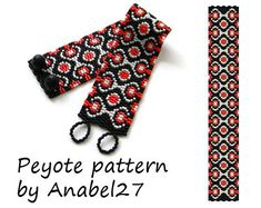 Peyote pattern red / black / white by ColorfulBeadPatterns
