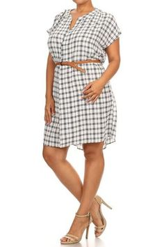 PLUS SIZE PLAID DRESS WITH BELT