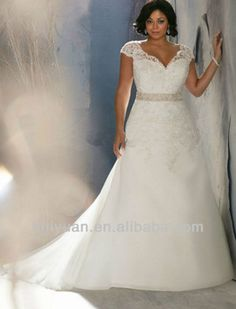 White lace cap sleeve wedding dresses for fat woman