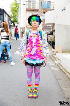 Minori, August 2016 -- Harajuku Girl in Rainbow Fashion & Piercings w/ ACDC Rag, Sprayground, Swimmer Japan & Claire's Japanese Streets, Japanese Street Fashion, Tokyo Fashion, Harajuku Fashion, Kawaii Fashion, Korean Fashion, Harajuku Style, Pastel Fashion, Estilo Harajuku