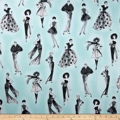 City Chic City Girl Aqua from @fabricdotcom  Designed by Anne Tavoletti for Kaufman Fabrics, this cotton print is perfect for quilting, apparel and home decor accents. Colors include grey, black and aqua.