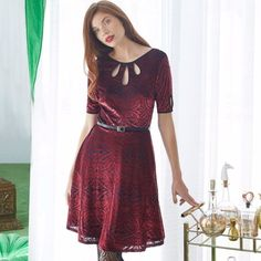 MODCLOTH Present the Event Velvet Dress Burgundy - 3x Goth Glam, Faux Leather Belts, Burgundy Dress, Modcloth, Scary, Short Sleeve Dresses, Velvet, Fabric, Sleeves