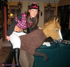 Horse and Jockey DIY Couple Costume Ideas- I already have some of the stuff I could use for something like this!
