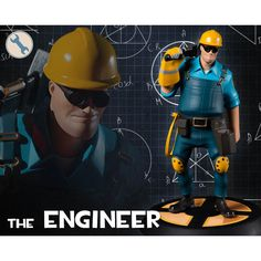 Team Fortress Gaming Heads Limited Edition 12 Inch Statue Blue Engineer