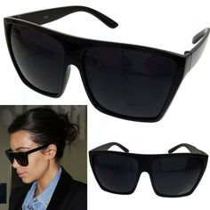 Black Oversized Large Xl Big Sunglasses Kim Square Flat Aviator Wayfarer Womens