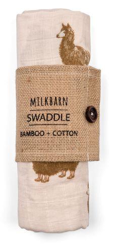 MilkBarn Baby Bamboo Swaddle Blanket - Pink Alpaca