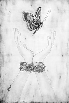"A pencil drawing on paper called ""Dreams of Freedom,"" a work by an asylum seeker in detention as part of the Exile series of the Refugee Art Project, an Australian organization that aims to give refugees a public voice through art as a form of personal expression."
