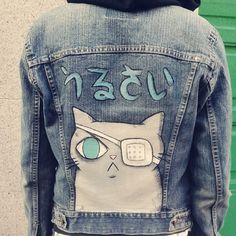 *Harajuku / Oversized custom painted denim jacket / Meow Meow