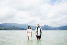 This Couple Held A Wedding Ceremony In The Ocean — Best Idea, Ever #refinery29  http://www.refinery29.com/green-wedding-shoes/12#slide-6  On the sandbar!Bride's attire: Ceremony skirt from BHLDN; Ceremony crop top, Alexis from Revolve. Bathing suits: Still & Sea, Austi...