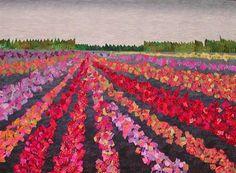 Flower-Power landscape quilt by Carol Larson