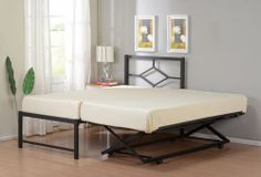 Amazon.com: Twin Size Metal HiRise Day Bed Frame With Headboard  Pop Up Trundle $349