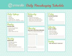 emeals.com cleaning schedule :)