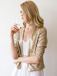 Golden Sequins Sparkling 3/4 Sleeve Cropped Jacket - AdoreWe.com