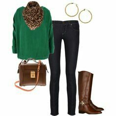 Green blouse with brown boots and Leopard scarf