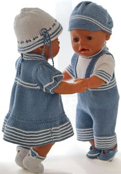 Knitting pattern for doll clothes - Beautiful summer clothes for your girl doll . : Knitted pattern for doll clothes – Beautiful summer clothes for your girl doll and your boy doll Baby Born Clothes, Boy Doll Clothes, Knitting Dolls Clothes, Knitted Dolls, Doll Clothes Patterns, Clothing Patterns, Knitting Patterns Boys, Love Knitting, Baby Patterns