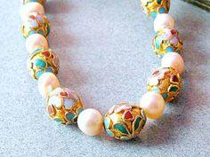 Vintage Cloisonne Enamel Bead Pearl Necklace by vintagepaige, $38.00