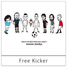<free kicker> 果たして一番凄いフリーキッカーは誰なのか。 古今東西FK自慢の選手がスタンバイ。 後方ではすでに助走に入ってる選手も約一名いるようです。