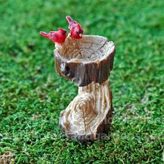 Fairy Homes and Gardens - Miniature Tree Stump Birdbath with Cardinals, $9.56 (https://www.fairyhomesandgardens.com/miniature-tree-stump-birdbath-with-cardinals/)