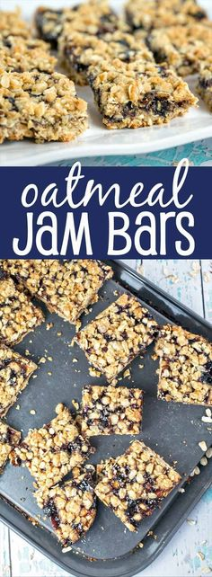 Oatmeal Jam Bars: one bowl, one spoon, mix by hand fruit bars. Oatmeal shortbread crust, a layer of jam, and an oatmeal crumble topping. Make ahead - freezer friendly! {Bunsen Burner Bakery} #EasyHolidayEats [ad]