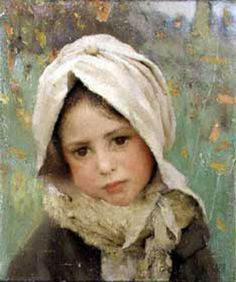 """Sir George Clausen, """"The Girl at the Gate"""" (1889) (Tate Britain, 13 July 2014) This picture was painted at Cookham Dean in Berkshire, where Clausen lived. Description from pinterest.com. I searched for this on bing.com/images"""