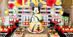 Sweet Table Details from a Mickey & Friends Birthday Party via Kara's Party Ideas | KarasPartyIdeas.com (1)