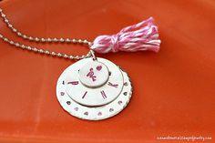 Hand Stamped Flamingo Necklace Tutorial #metalstampedjewelry #handstampedjewelry #makeitwithmadge