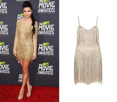 Selena Gomez Red Carpet- Get the look with this Kate Moss for Topshop 1920s Gatsby Flapper Inspired dress in gold.