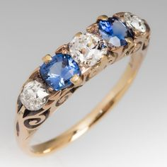 C1900 Victorian Old European Diamond and Sapphire Ring 18K